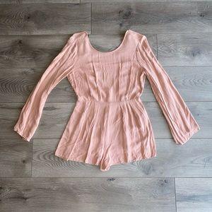 Blush pink long sleeve romper
